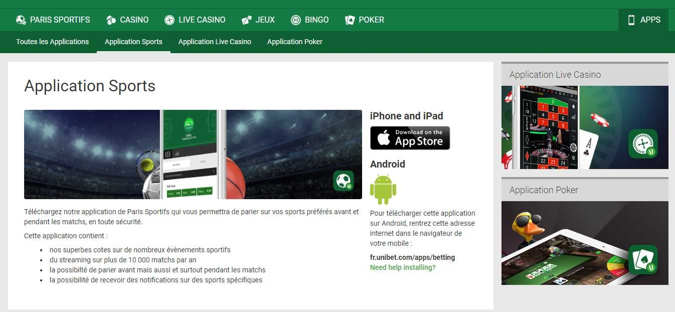 unibet sur appareil mobile sur iOS